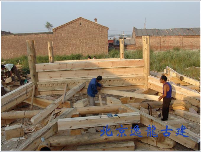Storeyed pavilion construction wood structure
