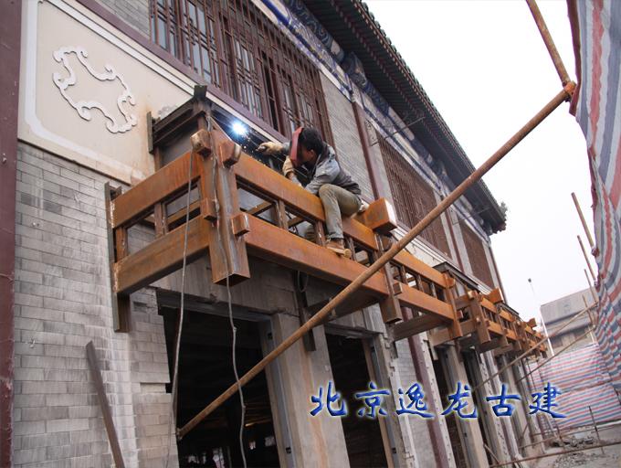 商业街仿古建筑门头施工